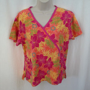 Dickies scrub top Size M Bright floral Red orange